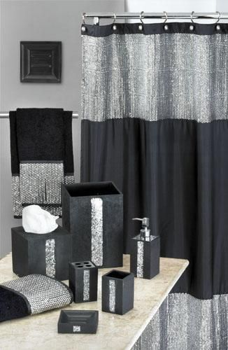 Best Vegas Style Bathroom Caprice Black Shower Curtain W This Month