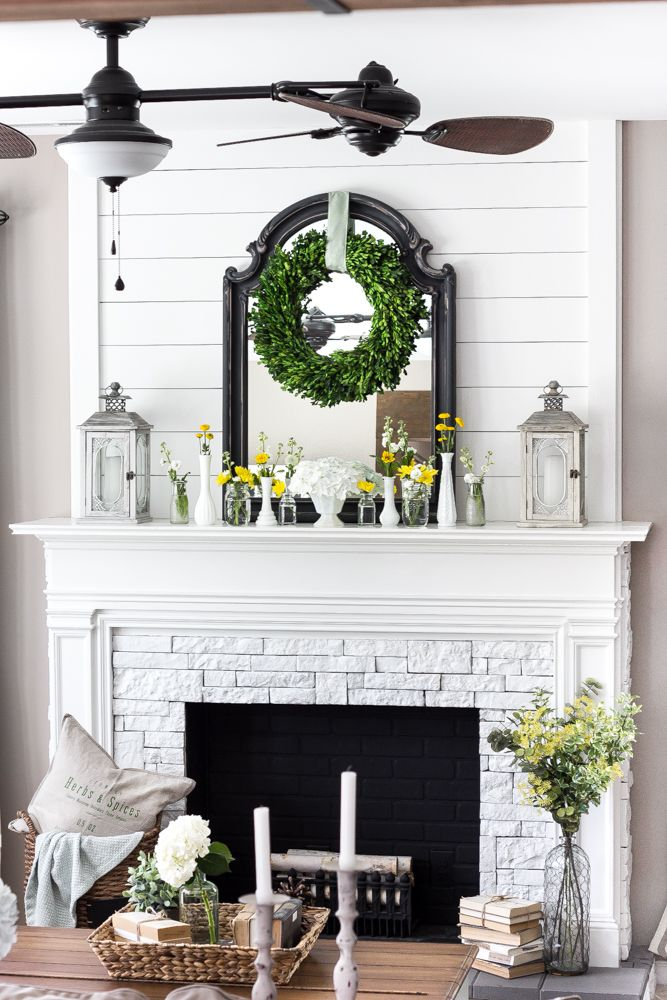 Best Summer Home Tour 2016 Faux Fireplace Wood Planks And Plank This Month