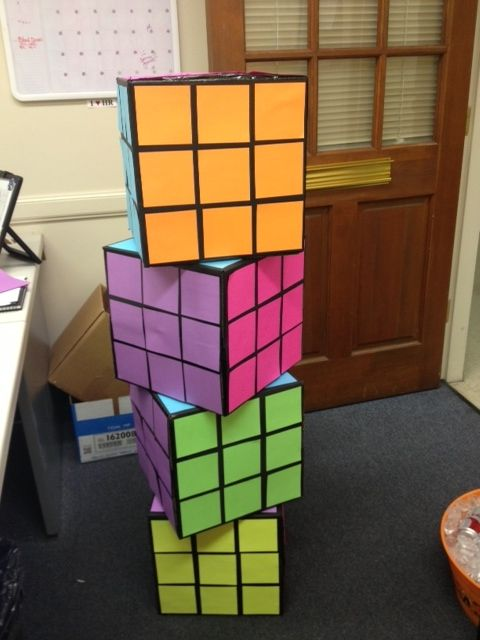 Best 80 S Party Rubix Cube Decor 12X12 Boxes Painted Black This Month