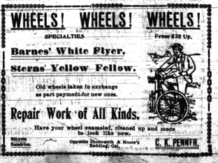 Display ad for Barnes & Sterns bicycles, Daily Free Press, April 11, 1900