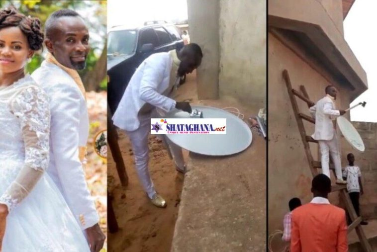 Groom leaves wife waiting in church while he goes to fix client's DStv in Cape Coast (Video)