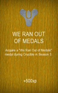 WE RAN OUT OF MEDALS