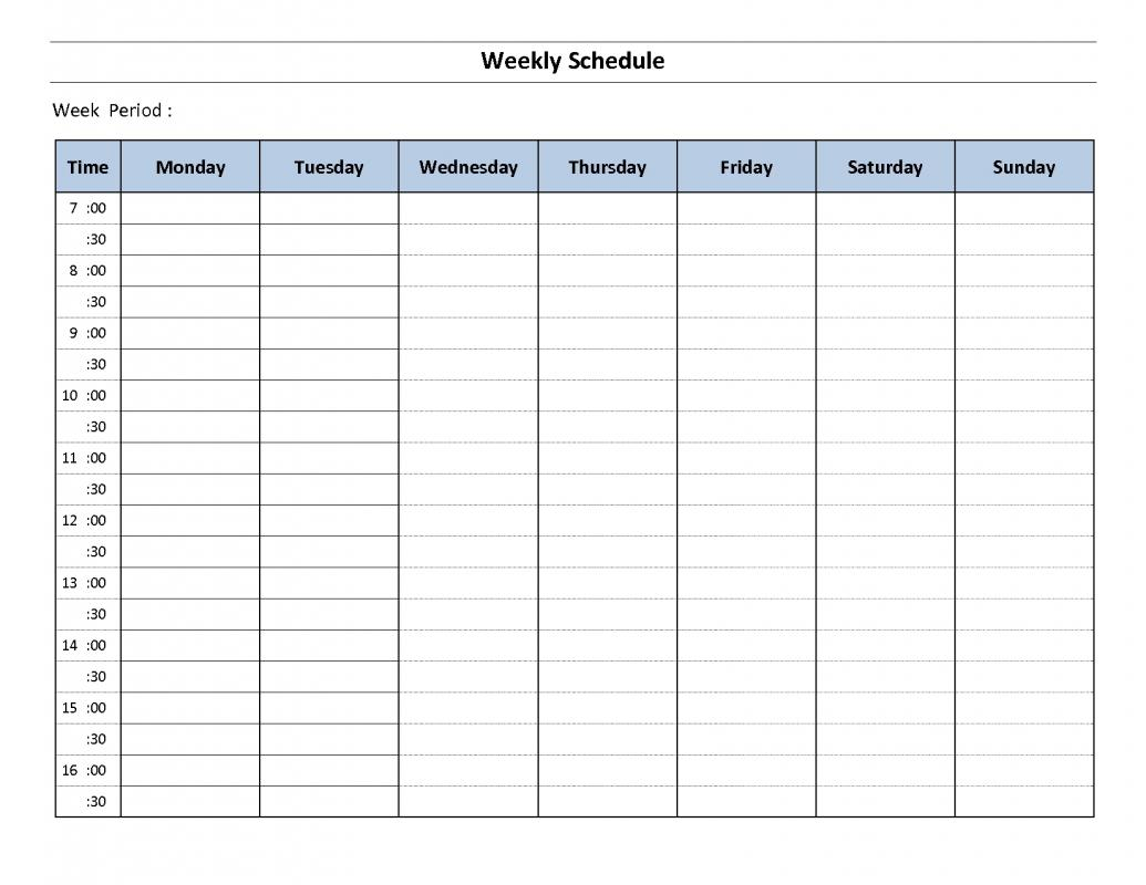 Weekly Hourly Schedule Template