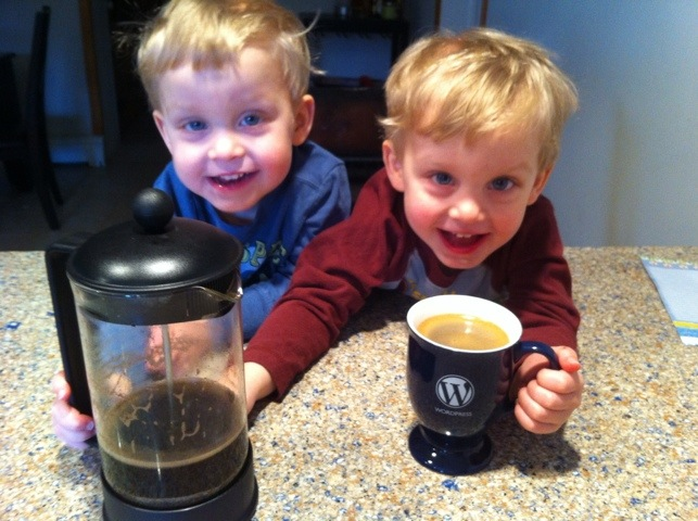 Making coffee with the boys.