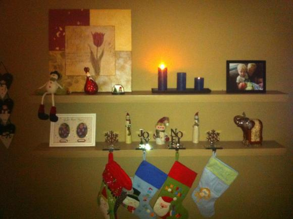 Our living room shelves.