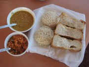 My favourite Sri Lankan breakfast (string hoppers, bread, coconut sambo and lentil curry).