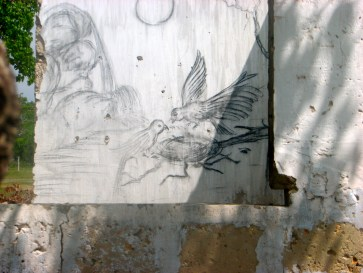 A drawing on one of the bombed out houses along the coast.