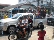 This is our truck during the Songkran festival. Great driving by Tong.