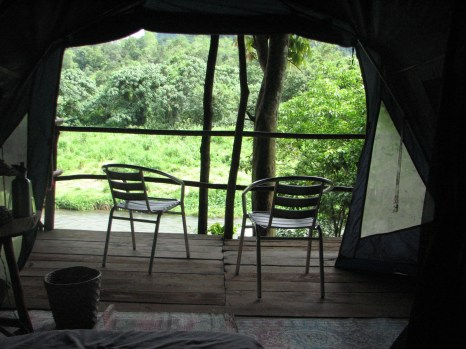 This is the view from inside our tent - a very luxurious way to rough it.
