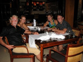 Here we are enjoying a lovely seafood dinner after watching the unethical feeding of the reef sharks.