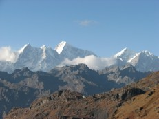 Mt. Langtang is approximately 7200m high. From where we were sitting it looked like we could reach out and touch it. Not even close!