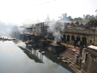 One of the main functions of the temple is to cremate dead bodies. Over 40 to 50 bodies are burned each day here at a cost of 5,000 Nepali rupees ($60) for poor people and over 10,000 Nepali rupees ($120) for rich families.