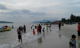 All the Malaysians flock to the beach at sunset. They are very sun safe and often wear all of their clothes in the drink.