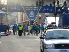 Here's the finish line before the race starts. Heavy police presence everywhere. Couldn't have felt safer.