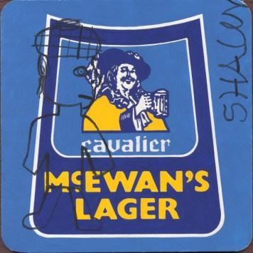"""""""McEwan's Lager"""" Gouache on archival paper on card. Dimensions 18,5cm x 18.5cm, AV."""