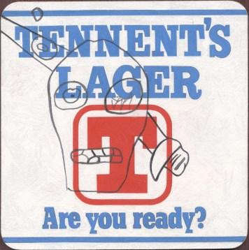 """Tennents Lager"" Gouache on archival paper on card. Dimensions 18,5cm x 18.5cm, AV"