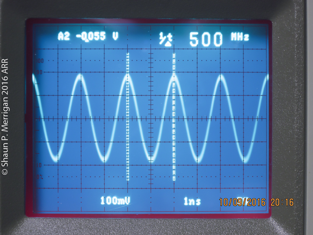 500 MHZ Sine wave input on a Tektronix 2467b