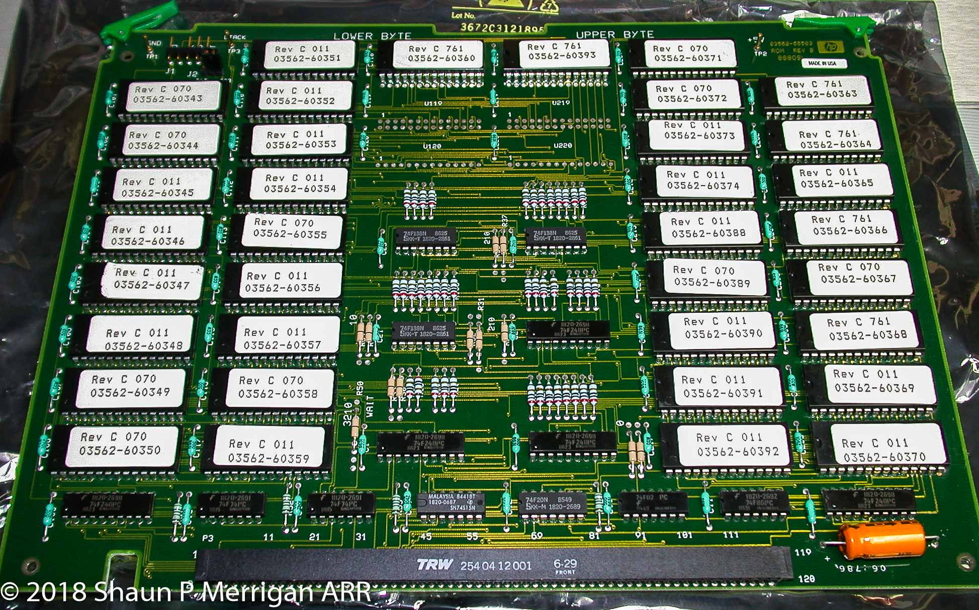 HP 3562A Rev B ROM board. The problem ROM chip is the fifth chip down in first column (U105)