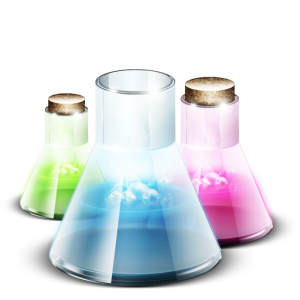 Three flask: one with green liquid, one with pink liquid, and one with blue liquid. Each liquid is bubbling.