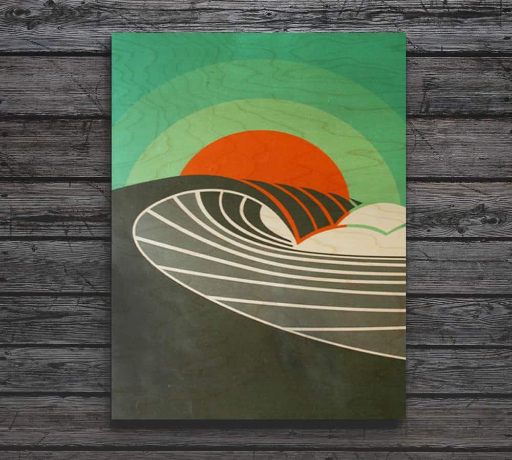 POINT BREAK Breaking Wave At Sunset Wood Print Shaun