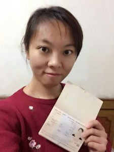 Gao Yichen with her passport and visa - ready to go!
