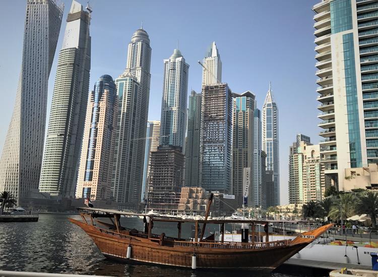 The skyline around Dubai marina