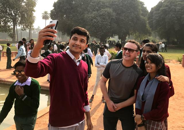 Selfie with kids in Delhi