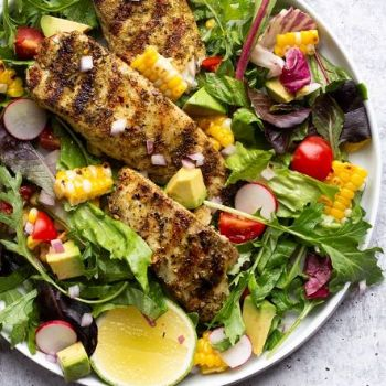 Chile Verde Fish Taco Salad