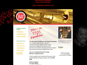 Sacramento Traditional Jazz Society Foundation Website - Before Image