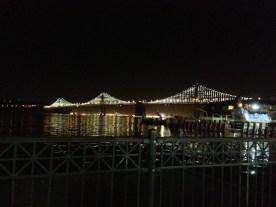 The Bay Bridge at night