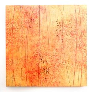 "Firebird | 40"" x 40"" Encaustic on panel ©ShawnaMoore"