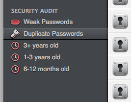 1Password 4 Security Audit and Duplicate Passwords