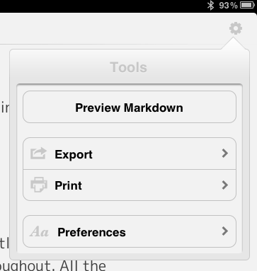 The Settings Pane in Byword on the iPad