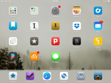 Shawn Blanc iPad home screen, December 2013