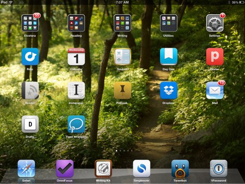Shawn Blanc iPad home screen, March 2013