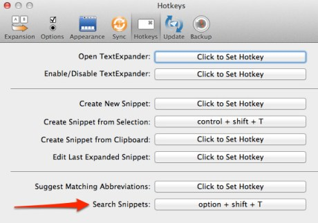 TextExpander Search Preference