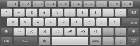 TouchPad Keyboard Layout with Text-Emoticons