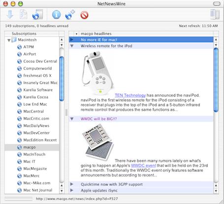 NetNewsWire 1.03 screenshot, showing the combined view