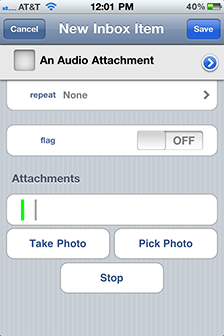 Recording an audio attachment in OmniFocus on iPhone