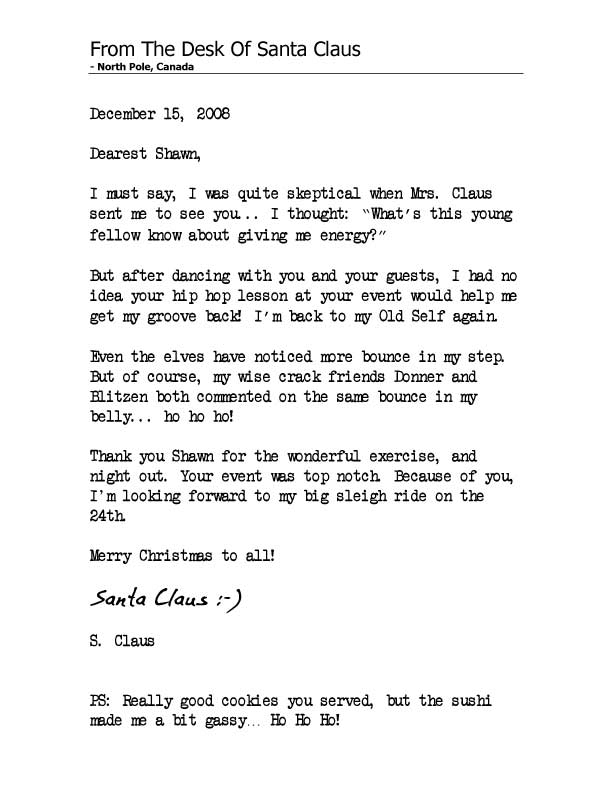Personal letter from Santa Claus