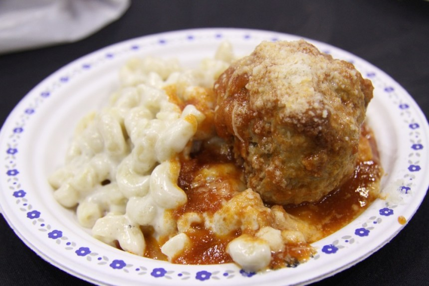 The Gramercy Grill's blue cheese macaroni, with meatball, at Eat! Vancouver, June 11 2011. Robyn Hanson photo