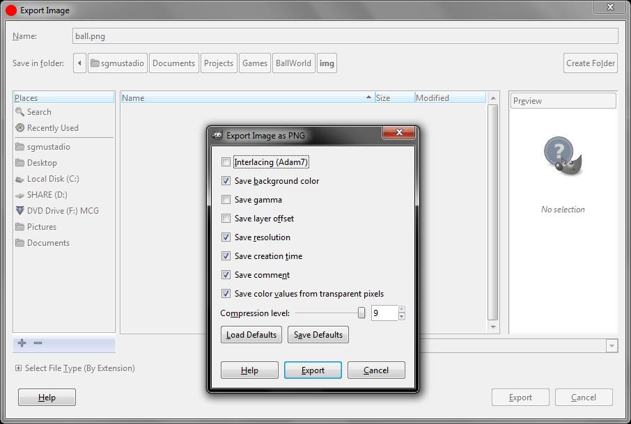GIMP export image