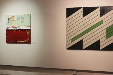 red green modern art paintings exhibit