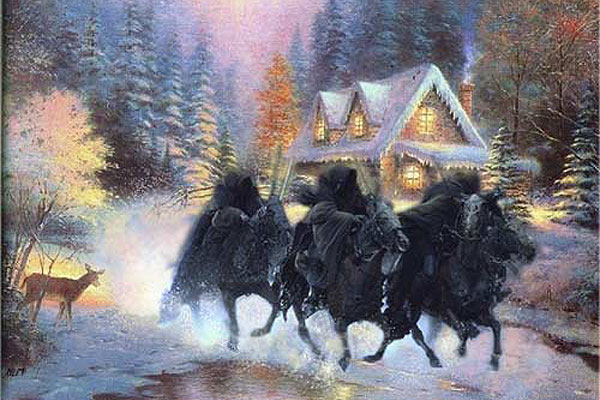 thomas kinkade parody spoof painting horsemen apocalypse