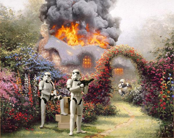 thomas kinkade parody spoof painting stormtroopers star wars