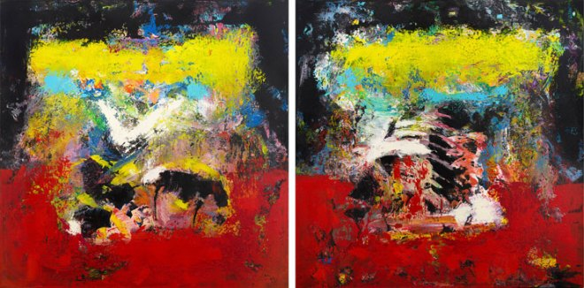 Red Yellow Modern Painting Diptych McNulty