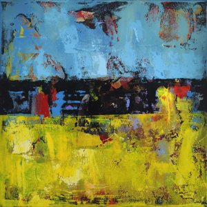 Hay 2 Yellow Black Blue Abstract Painting