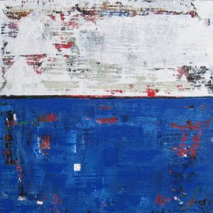 Blue Tremolo White Distressed Abstract Painting
