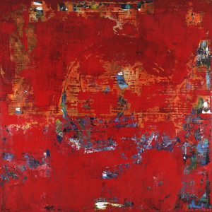 Scrubble Red Textured Abstract Painting