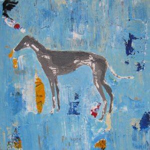 Greyhound Dog Abstract Art Painting